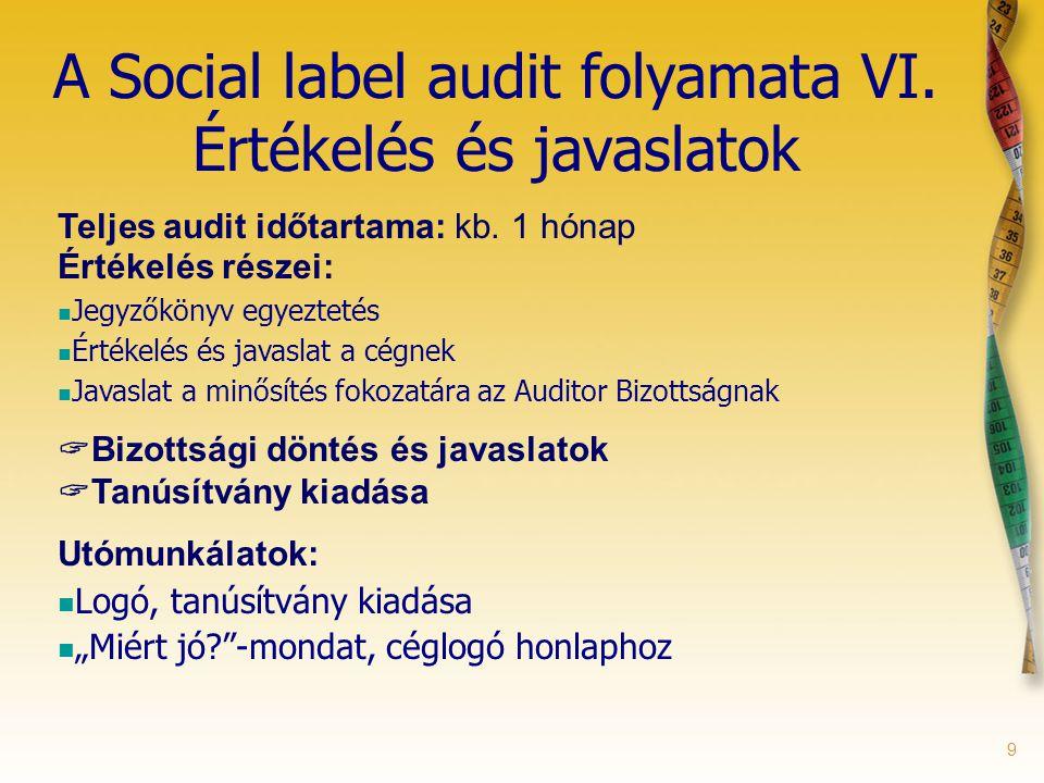 9 A Social label audit folyamata VI. Értékelés és javaslatok Teljes audit időtartama: kb. 1 hónap Értékelés részei: Jegyzőkönyv egyeztetés Értékelés é