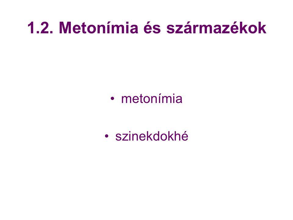 1.2. Metonímia és származékok metonímia szinekdokhé