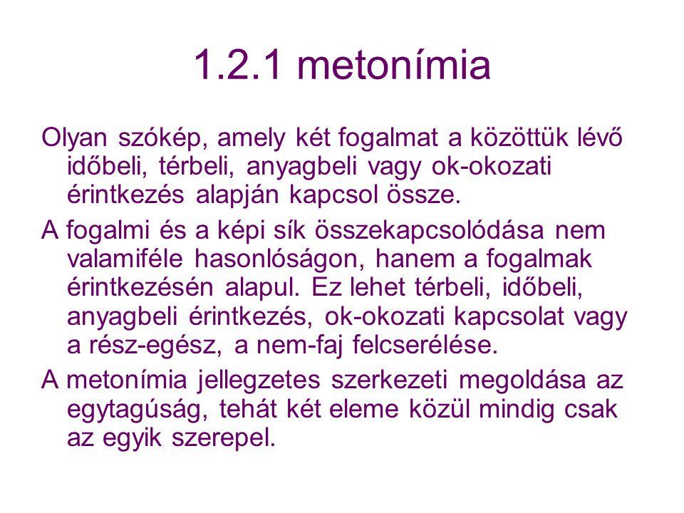 1.2.1 metonímia Olyan szókép, amely két fogalmat a közöttük lévő időbeli, térbeli, anyagbeli vagy ok-okozati érintkezés alapján kapcsol össze.