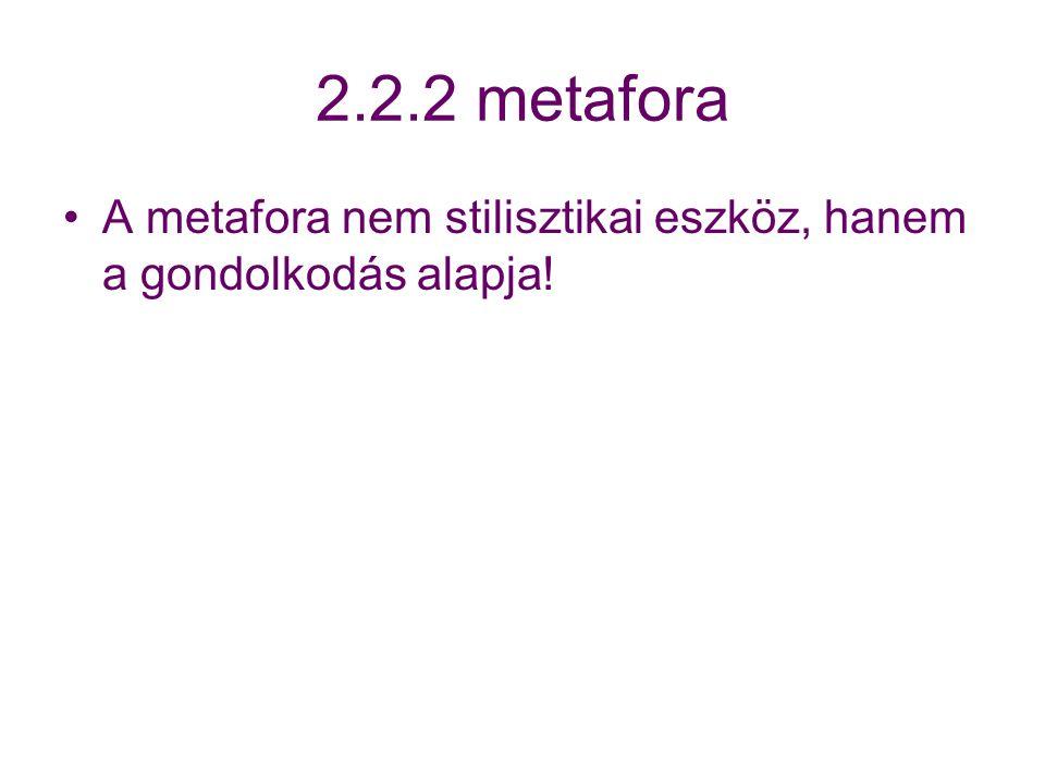 2.2.2 metafora A metafora nem stilisztikai eszköz, hanem a gondolkodás alapja!