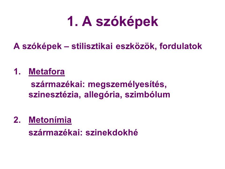 1. A szóképek A szóképek – stilisztikai eszközök, fordulatok 1.Metafora származékai: megszemélyesítés, szinesztézia, allegória, szimbólum 2. Metonímia