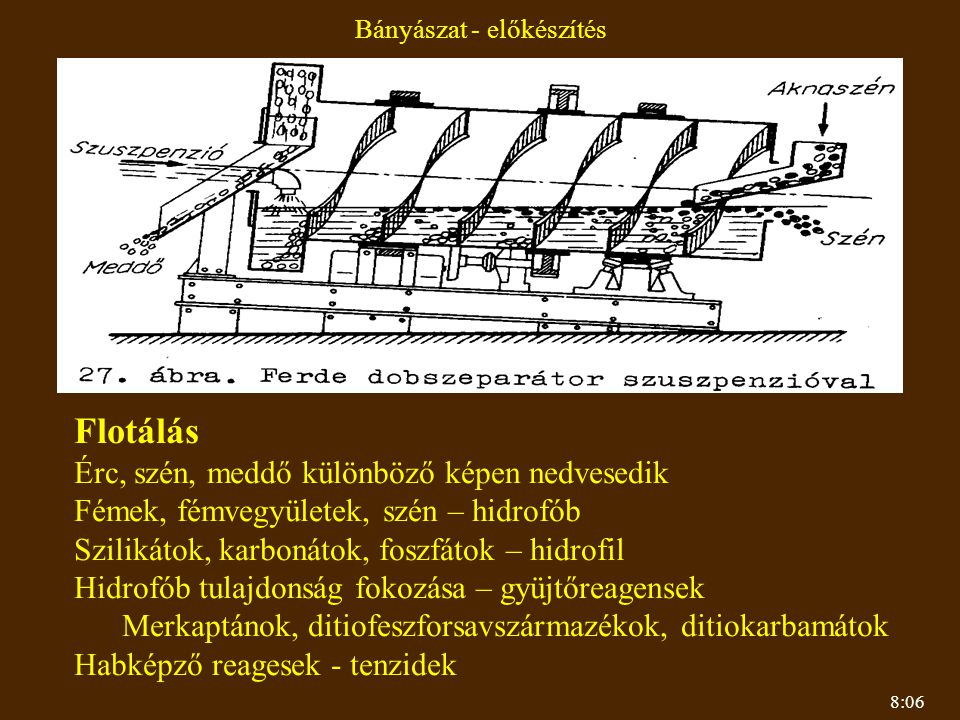 8:06 Bányászat - előkészítés Flotálás Érc, szén, meddő különböző képen nedvesedik Fémek, fémvegyületek, szén – hidrofób Szilikátok, karbonátok, foszfá
