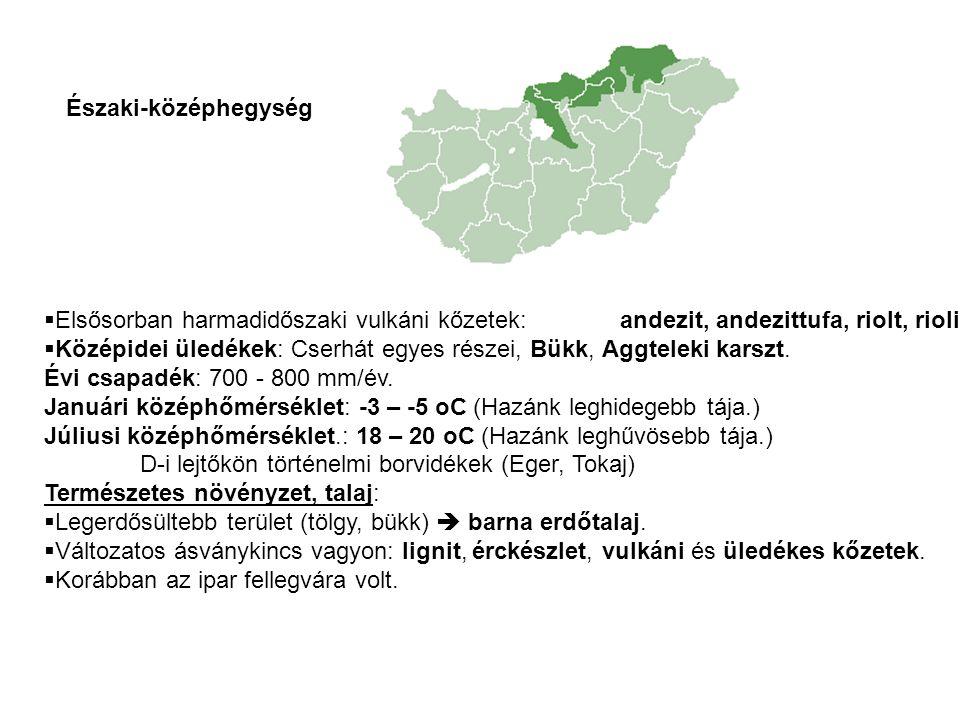 Az Északi középhegység tagjai: Visegrádi-hegység Börzsöny Cserhát Mátra Bükk Aggteleki-karszt Cserehát Zempléni-hegység