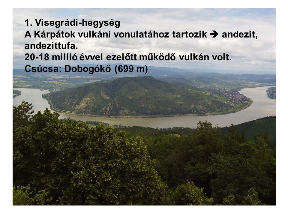 1.Visegrádi-hegység A Kárpátok vulkáni vonulatához tartozik  andezit, andezittufa.