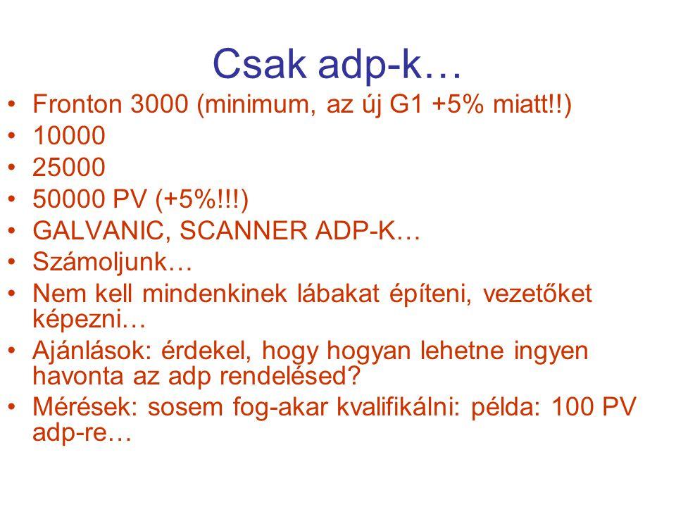 Csak adp-k… Fronton 3000 (minimum, az új G1 +5% miatt!!) 10000 25000 50000 PV (+5%!!!) GALVANIC, SCANNER ADP-K… Számoljunk… Nem kell mindenkinek lábak
