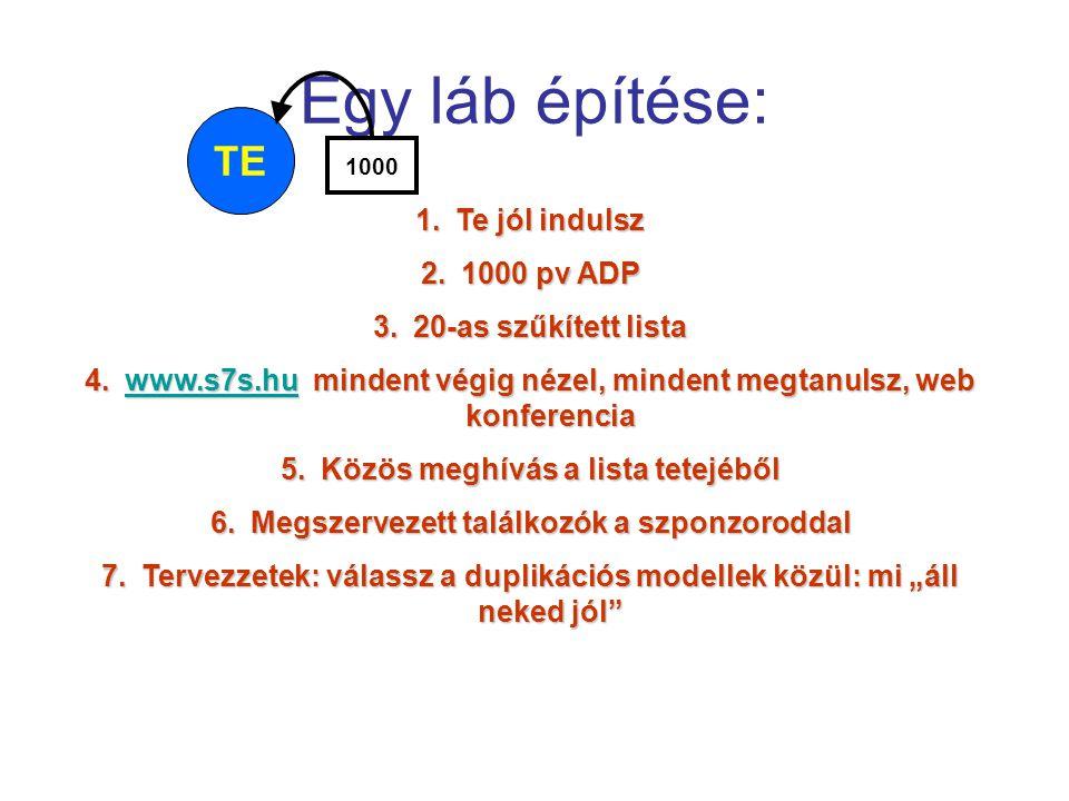 Egy láb építése: TE 1000 1.Te jól indulsz 2.1000 pv ADP 3.20-as szűkített lista 4.www.s7s.hu mindent végig nézel, mindent megtanulsz, web konferencia