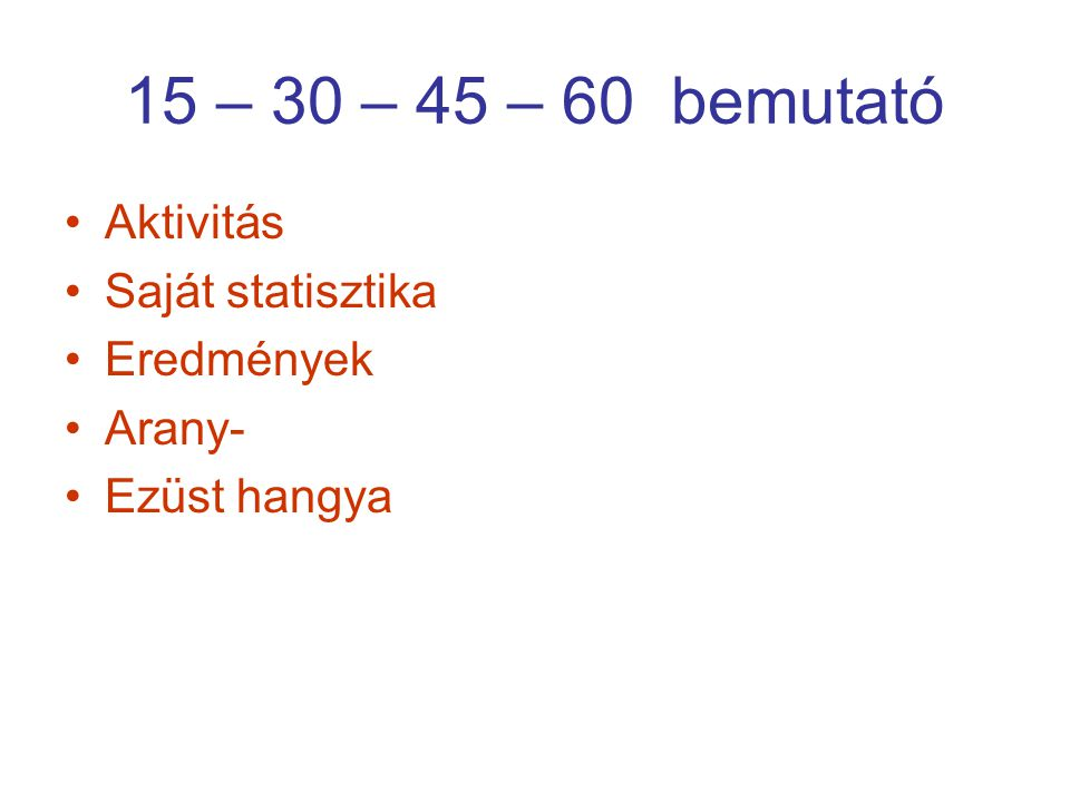 15 – 30 – 45 – 60 bemutató Aktivitás Saját statisztika Eredmények Arany- Ezüst hangya
