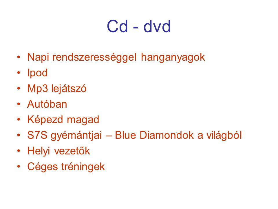 Cd - dvd Napi rendszerességgel hanganyagok Ipod Mp3 lejátszó Autóban Képezd magad S7S gyémántjai – Blue Diamondok a világból Helyi vezetők Céges tréni