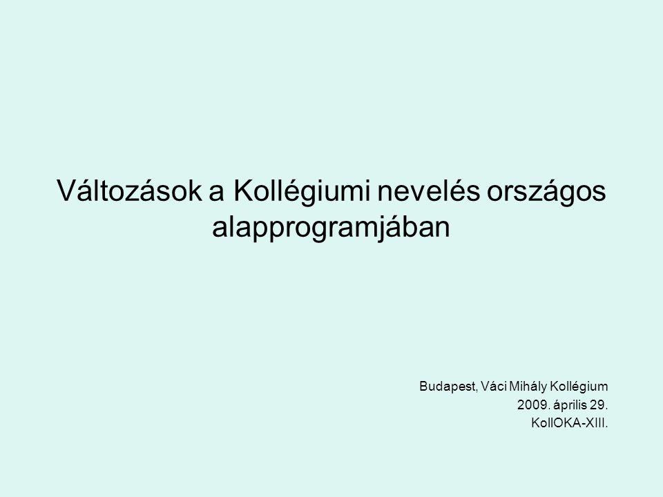Változások a Kollégiumi nevelés országos alapprogramjában Budapest, Váci Mihály Kollégium 2009.
