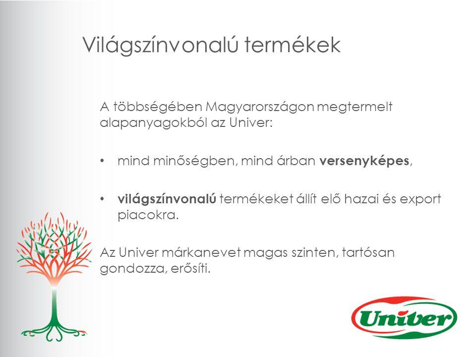 Világszínvonalú termékek A többségében Magyarországon megtermelt alapanyagokból az Univer: mind minőségben, mind árban versenyképes, világszínvonalú termékeket állít elő hazai és export piacokra.
