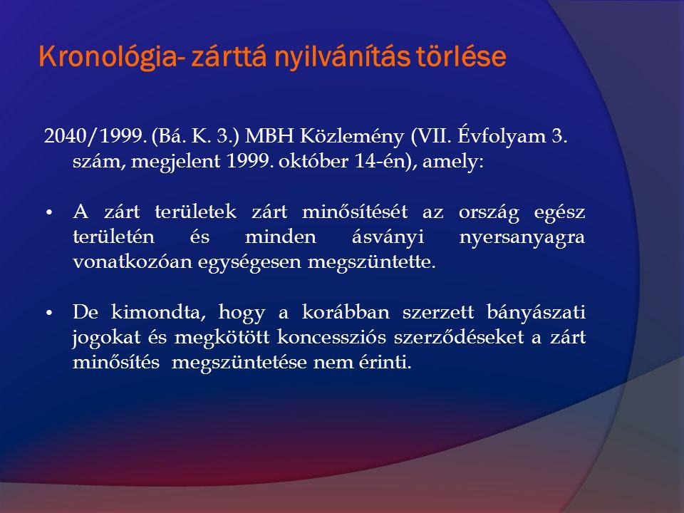 Kronológia- zárttá nyilvánítás törlése 2040/1999. (Bá. K. 3.) MBH Közlemény (VII. Évfolyam 3. szám, megjelent 1999. október 14-én), amely: A zárt terü