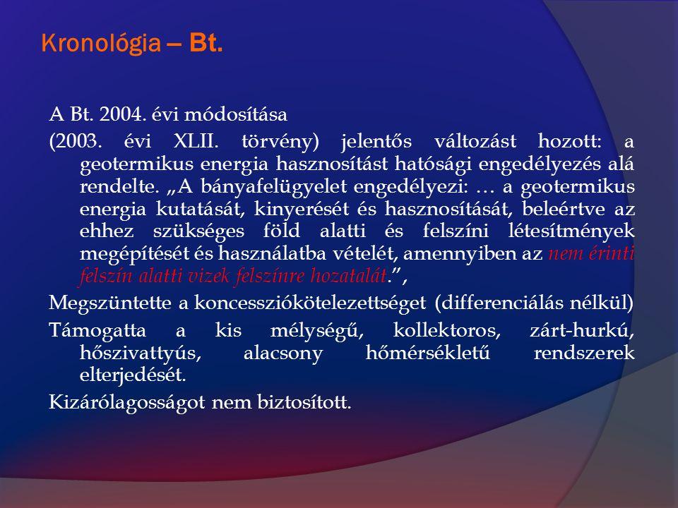 Kronológia – Bt. A Bt. 2004. évi módosítása (2003. évi XLII. törvény) jelentős változást hozott: a geotermikus energia hasznosítást hatósági engedélye