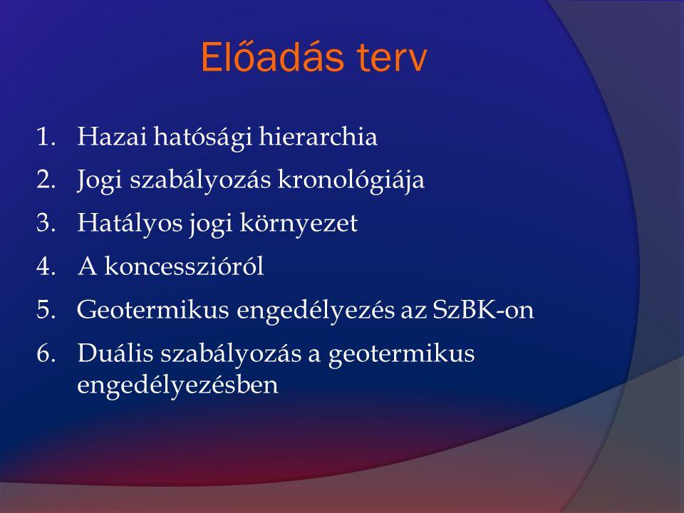 Előadás terv 1.Hazai hatósági hierarchia 2.Jogi szabályozás kronológiája 3.Hatályos jogi környezet 4.A koncesszióról 5.Geotermikus engedélyezés az SzB