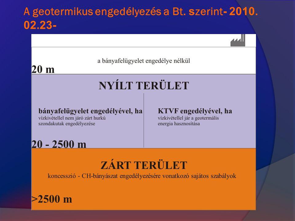 A geotermikus engedélyezés a Bt. s zerint - 2010. 02.23-