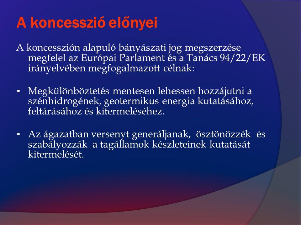 A koncesszió előnyei A koncesszión alapuló bányászati jog megszerzése megfelel az Európai Parlament és a Tanács 94/22/EK irányelvében megfogalmazott c