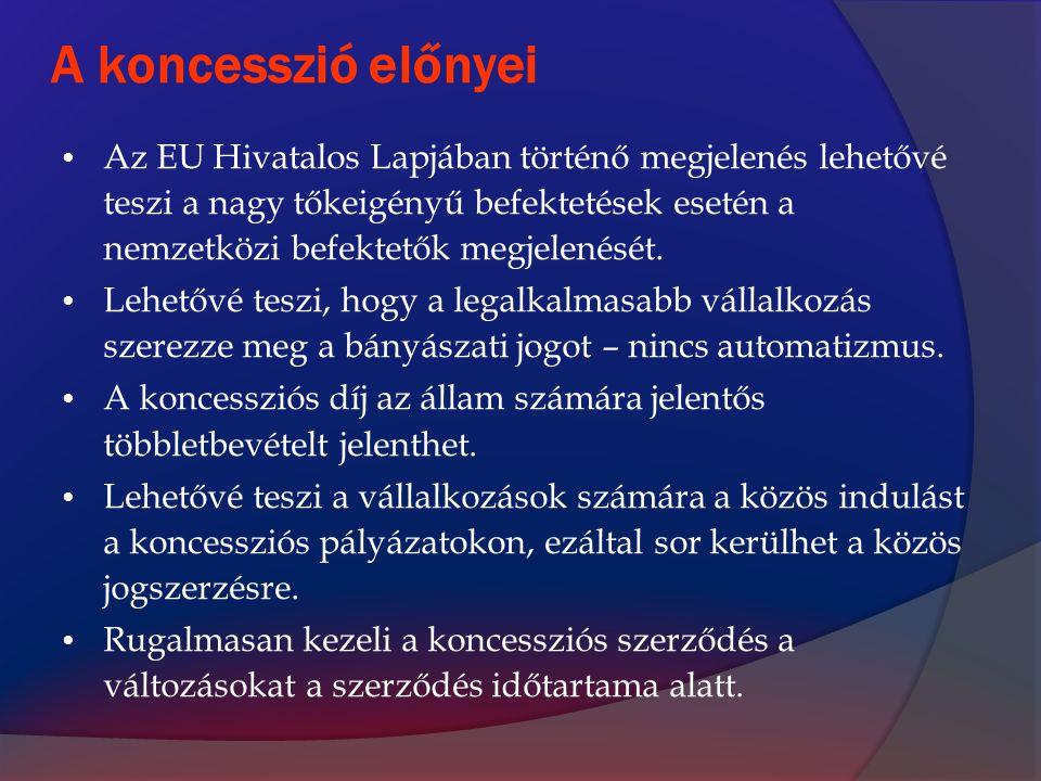 A koncesszió előnyei Az EU Hivatalos Lapjában történő megjelenés lehetővé teszi a nagy tőkeigényű befektetések esetén a nemzetközi befektetők megjelen