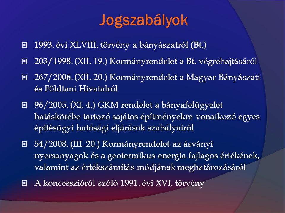 A geotermikus energia szabályozásának kronológiája a Bányatörvényben A bányászatról szóló 1993.