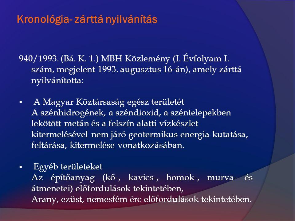 Koncessziók 1991-1996 Szénhidrogén: 27 db Kerkáskápolna I., Letenye II., Mernye II., Gyékényes I., Budafa I., Bősárkány I., Felsőszentmárton I., Celldömölk ÉNY I., Hódmezővásárhely I., Alpár I., Kömpöc I., Csávoly I., Derecske I., Kiskunhalas I., Fábiánsebestyén IV., Doboz I., Kunszentmárton I., Tóalmás IV., Szeged I., Jászság I., Nagyecsed I., Sáránd I., Mezőkeresztes-K, Egyek I., Heves, Inke, Mecsek-Ny Barnaszén: 11 db Csétény, Sápár, Sajómercse II., Dubicsány, Várpalota-D (Küngös, Csajág, Berhida, Ősi, Füle), Bakonycsernye, Súr Feketeszén: 1 db Máza-D Lignit: 1 db Torony Alginit: 2 db Gérce, Pula