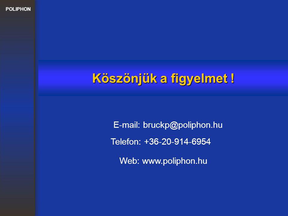 POLIPHON Köszönjük a figyelmet ! E-mail: bruckp@poliphon.hu Web: www.poliphon.hu Telefon: +36-20-914-6954
