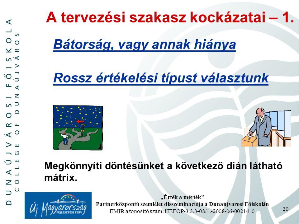 """""""Érték a mérték Partnerközpontú szemlélet disszeminációja a Dunaújvárosi Főiskolán EMIR azonosító szám: HEFOP-3.3.3-08/1.-2008-06-0021/1.0 20 A tervezési szakasz kockázatai – 1."""