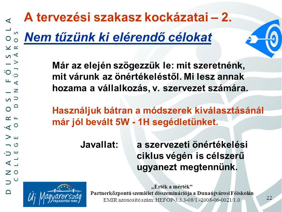 """""""Érték a mérték Partnerközpontú szemlélet disszeminációja a Dunaújvárosi Főiskolán EMIR azonosító szám: HEFOP-3.3.3-08/1.-2008-06-0021/1.0 22 A tervezési szakasz kockázatai – 2."""