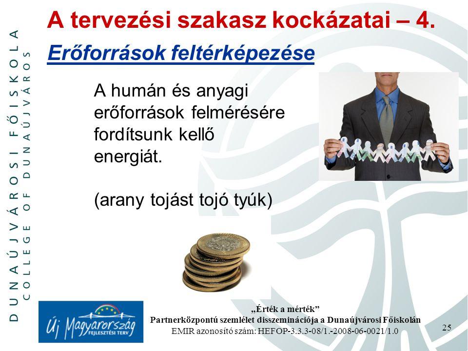 """""""Érték a mérték Partnerközpontú szemlélet disszeminációja a Dunaújvárosi Főiskolán EMIR azonosító szám: HEFOP-3.3.3-08/1.-2008-06-0021/1.0 25 A tervezési szakasz kockázatai – 4."""