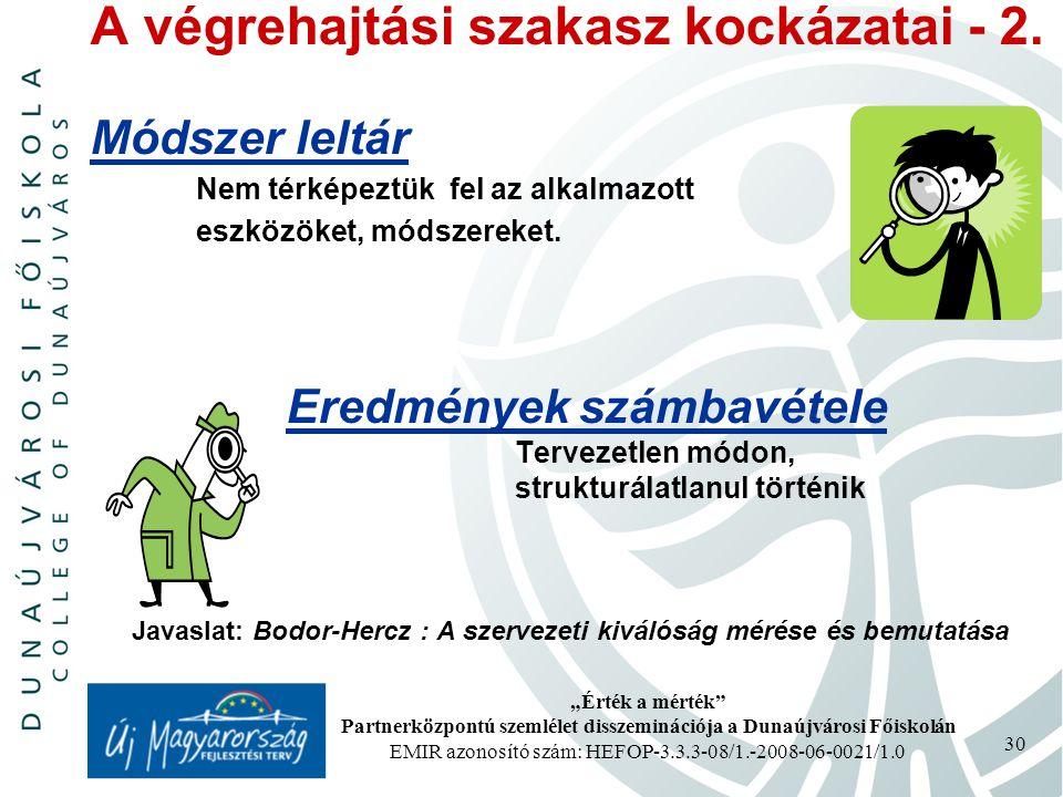 """""""Érték a mérték Partnerközpontú szemlélet disszeminációja a Dunaújvárosi Főiskolán EMIR azonosító szám: HEFOP-3.3.3-08/1.-2008-06-0021/1.0 30 A végrehajtási szakasz kockázatai - 2."""