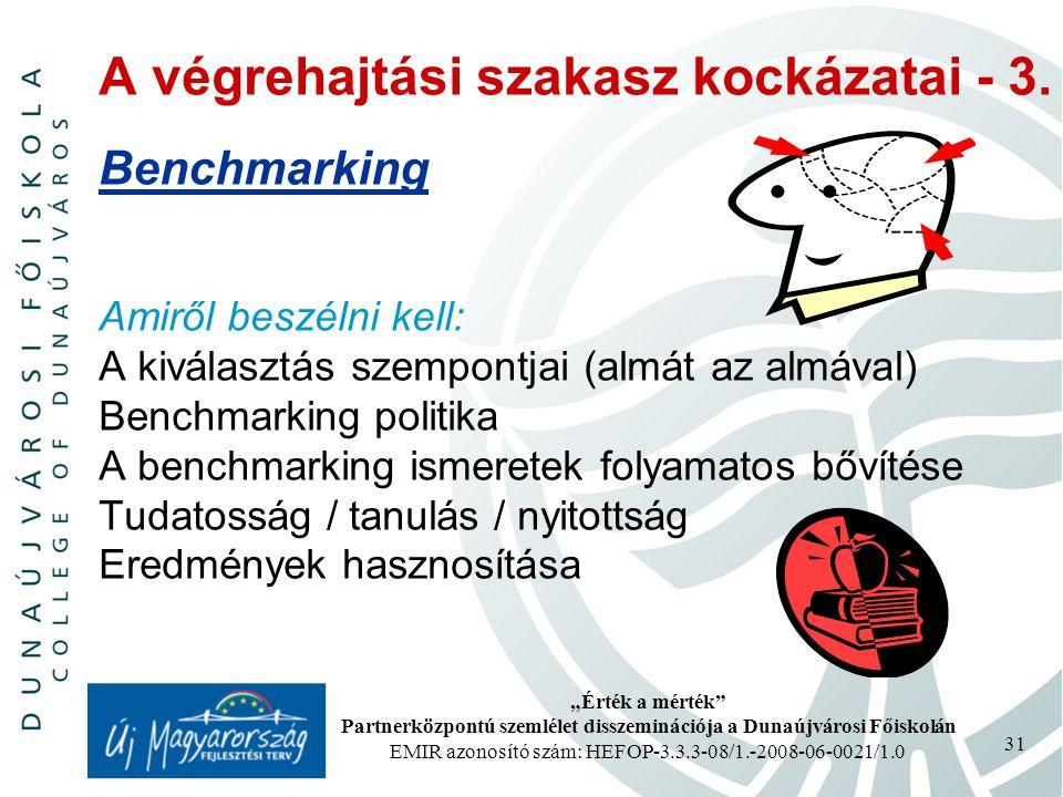 """""""Érték a mérték Partnerközpontú szemlélet disszeminációja a Dunaújvárosi Főiskolán EMIR azonosító szám: HEFOP-3.3.3-08/1.-2008-06-0021/1.0 31 A végrehajtási szakasz kockázatai - 3."""