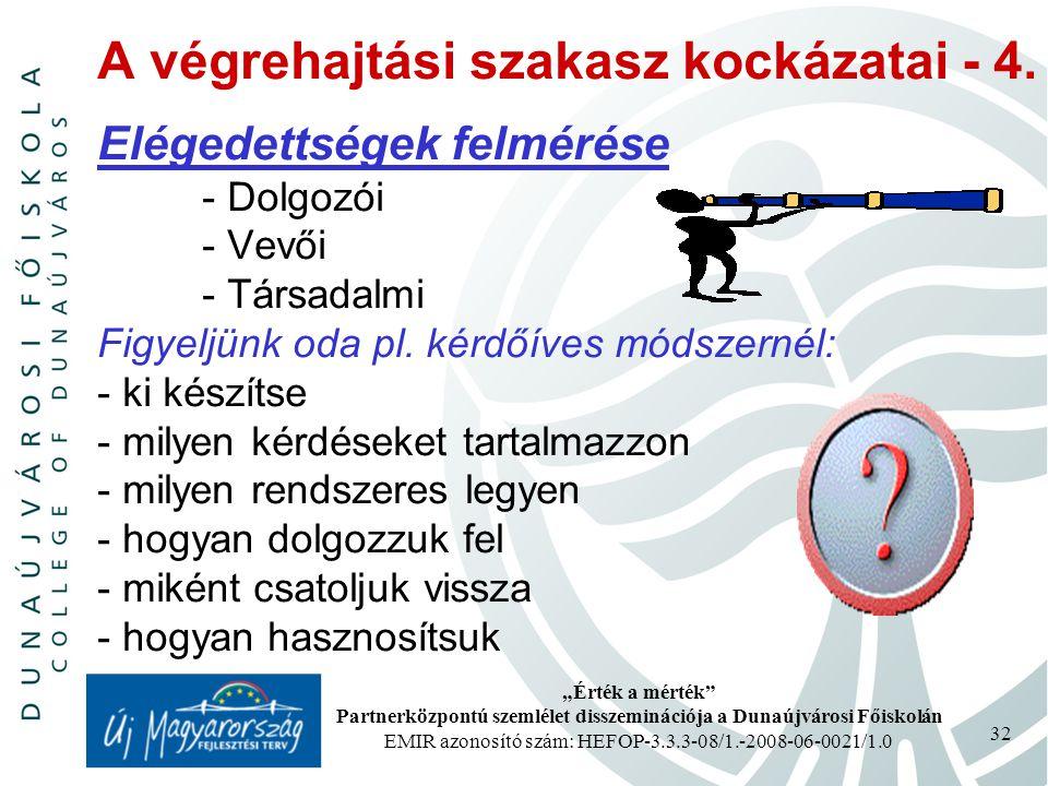 """""""Érték a mérték Partnerközpontú szemlélet disszeminációja a Dunaújvárosi Főiskolán EMIR azonosító szám: HEFOP-3.3.3-08/1.-2008-06-0021/1.0 32 A végrehajtási szakasz kockázatai - 4."""