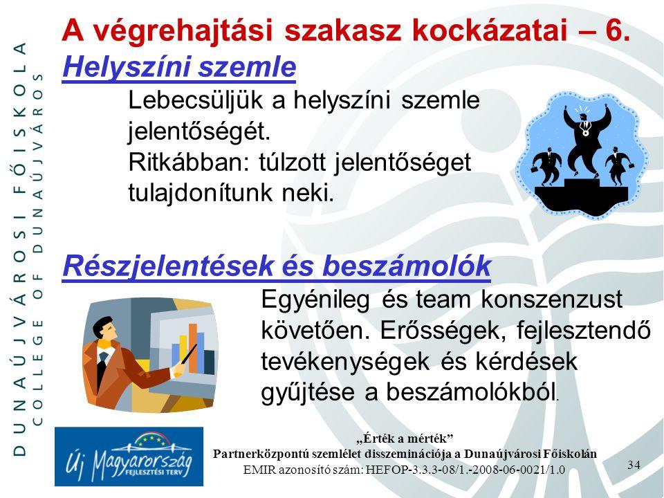 """""""Érték a mérték Partnerközpontú szemlélet disszeminációja a Dunaújvárosi Főiskolán EMIR azonosító szám: HEFOP-3.3.3-08/1.-2008-06-0021/1.0 34 A végrehajtási szakasz kockázatai – 6."""