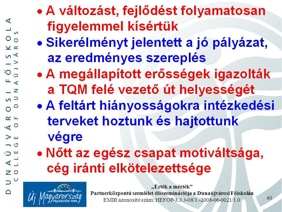 """""""Érték a mérték Partnerközpontú szemlélet disszeminációja a Dunaújvárosi Főiskolán EMIR azonosító szám: HEFOP-3.3.3-08/1.-2008-06-0021/1.0 40"""