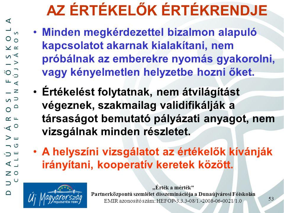 """""""Érték a mérték Partnerközpontú szemlélet disszeminációja a Dunaújvárosi Főiskolán EMIR azonosító szám: HEFOP-3.3.3-08/1.-2008-06-0021/1.0 53 AZ ÉRTÉKELŐK ÉRTÉKRENDJE Minden megkérdezettel bizalmon alapuló kapcsolatot akarnak kialakítani, nem próbálnak az emberekre nyomás gyakorolni, vagy kényelmetlen helyzetbe hozni őket."""