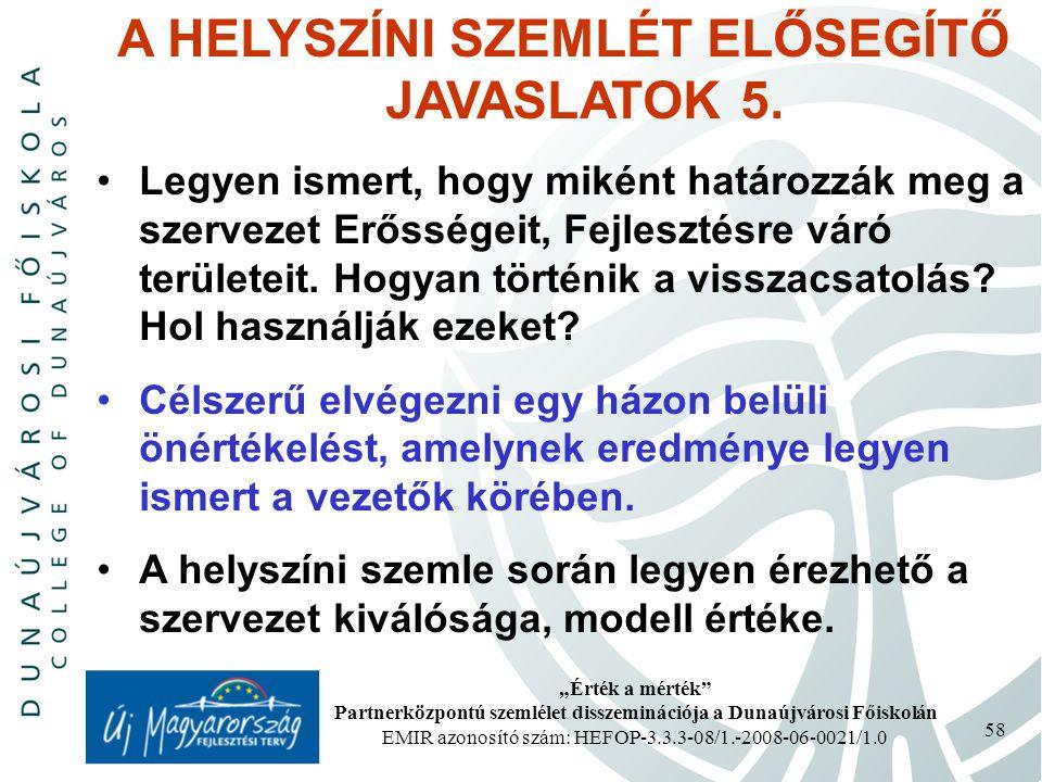 """""""Érték a mérték"""" Partnerközpontú szemlélet disszeminációja a Dunaújvárosi Főiskolán EMIR azonosító szám: HEFOP-3.3.3-08/1.-2008-06-0021/1.0 58 A HELYS"""