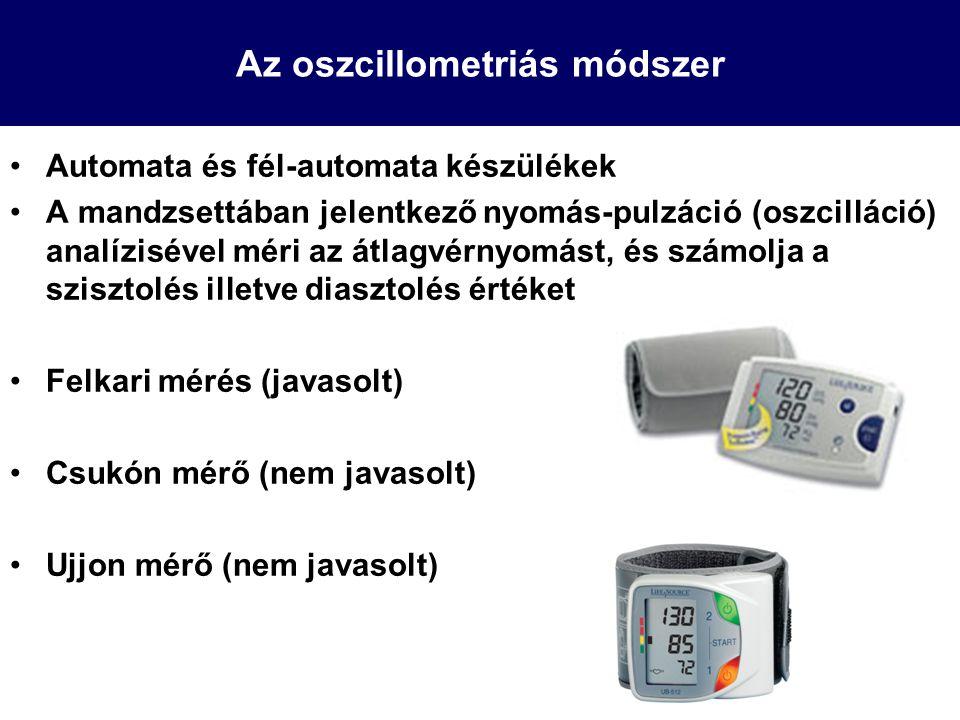 Az oszcillometriás módszer Automata és fél-automata készülékek A mandzsettában jelentkező nyomás-pulzáció (oszcilláció) analízisével méri az átlagvérn