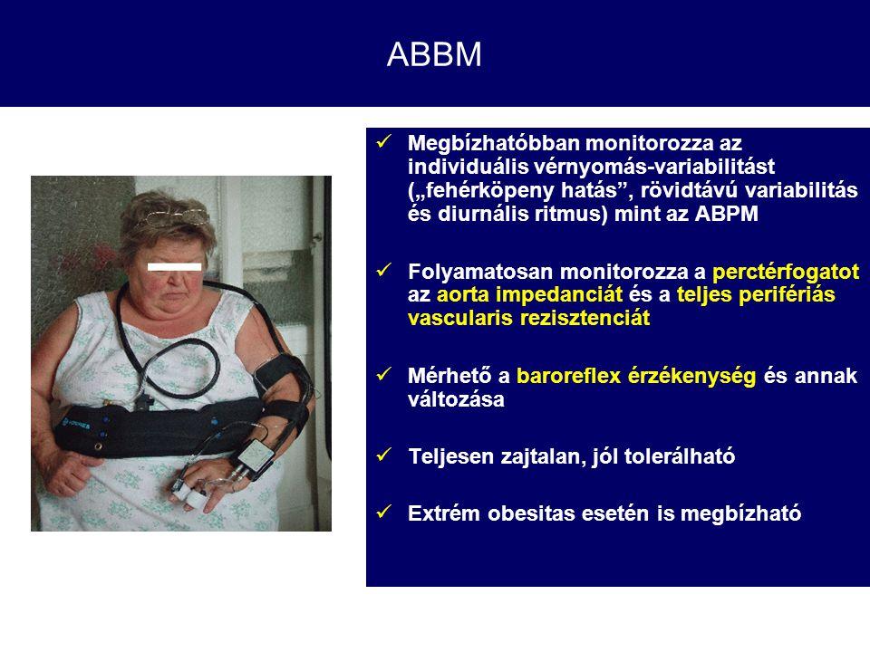 """ABBM Megbízhatóbban monitorozza az individuális vérnyomás-variabilitást (""""fehérköpeny hatás"""", rövidtávú variabilitás és diurnális ritmus) mint az ABPM"""