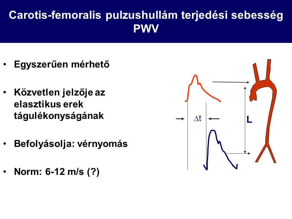 Carotis-femoralis pulzushullám terjedési sebesség PWV Egyszerűen mérhető Közvetlen jelzője az elasztikus erek tágulékonyságának Befolyásolja: vérnyomá
