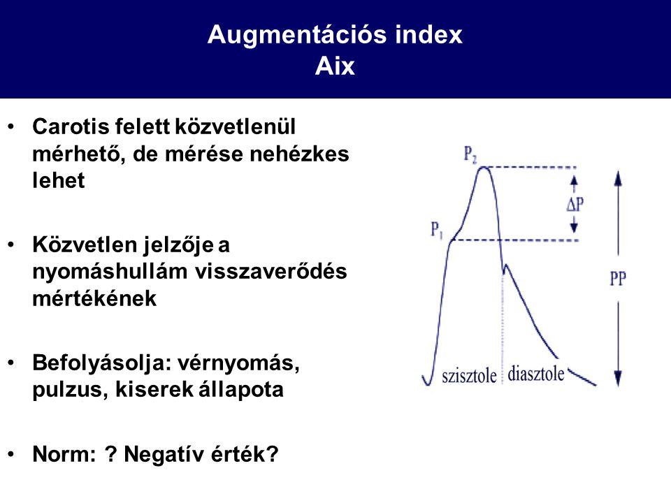 Augmentációs index Aix Carotis felett közvetlenül mérhető, de mérése nehézkes lehet Közvetlen jelzője a nyomáshullám visszaverődés mértékének Befolyás