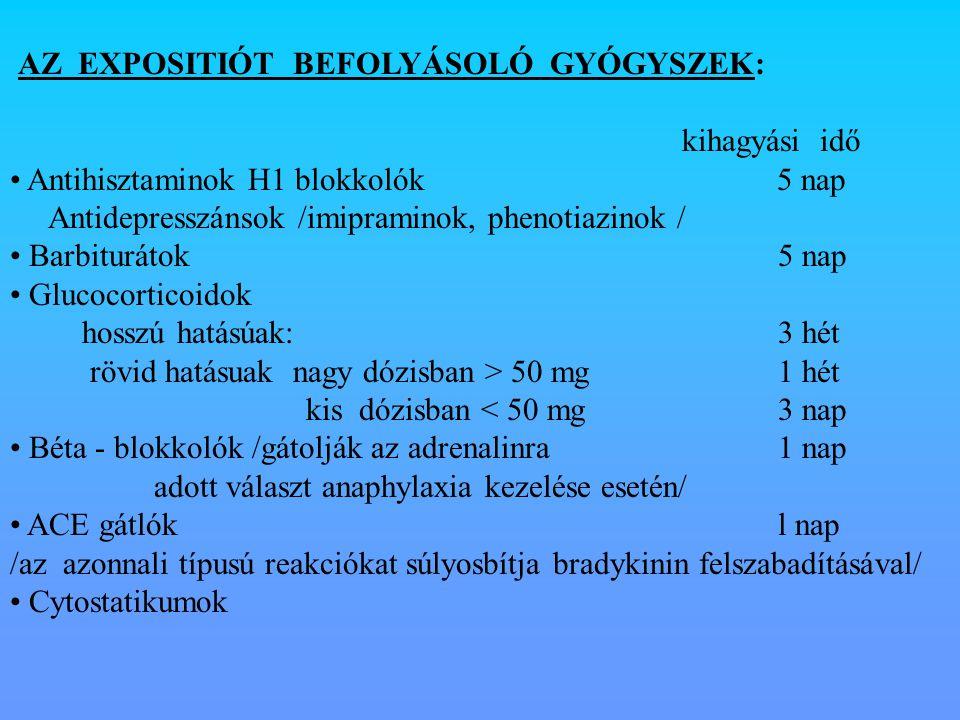 AZ EXPOSITIÓT BEFOLYÁSOLÓ GYÓGYSZEK: kihagyási idő Antihisztaminok H1 blokkolók 5 nap Antidepresszánsok /imipraminok, phenotiazinok / Barbiturátok5 na
