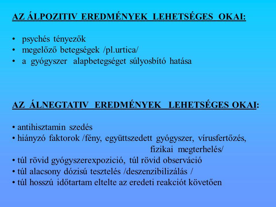 AZ ÁLPOZITIV EREDMÉNYEK LEHETSÉGES OKAI: psychés tényezők megelőző betegségek /pl.urtica/ a gyógyszer alapbetegséget súlyosbító hatása AZ ÁLNEGTATIV E