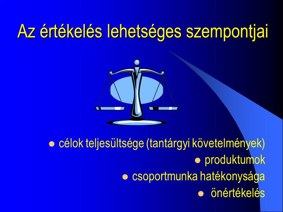 Az értékelés lehetséges szempontjai célok teljesültsége (tantárgyi követelmények) produktumok csoportmunka hatékonysága önértékelés