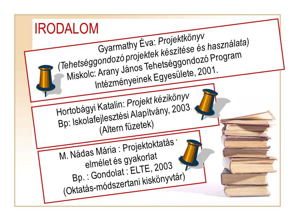 IRODALOM Gyarmathy Éva: Projektkönyv (Tehetséggondozó projektek készítése és használata) Miskolc: Arany János Tehetséggondozó Program Intézményeinek Egyesülete, 2001.