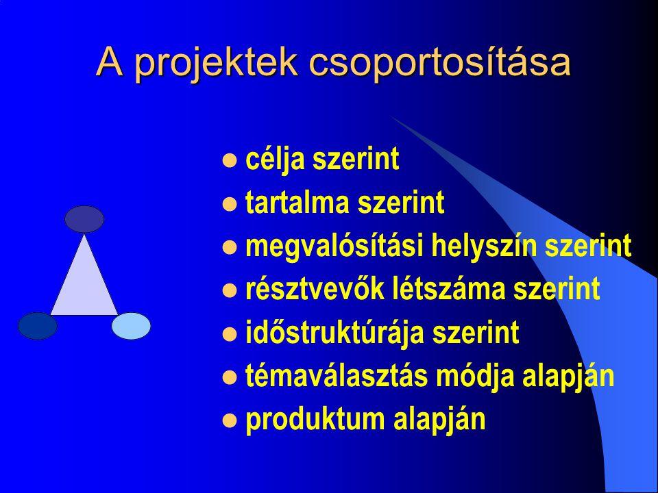 A projektek csoportosítása célja szerint tartalma szerint megvalósítási helyszín szerint résztvevők létszáma szerint időstruktúrája szerint témaválasztás módja alapján produktum alapján