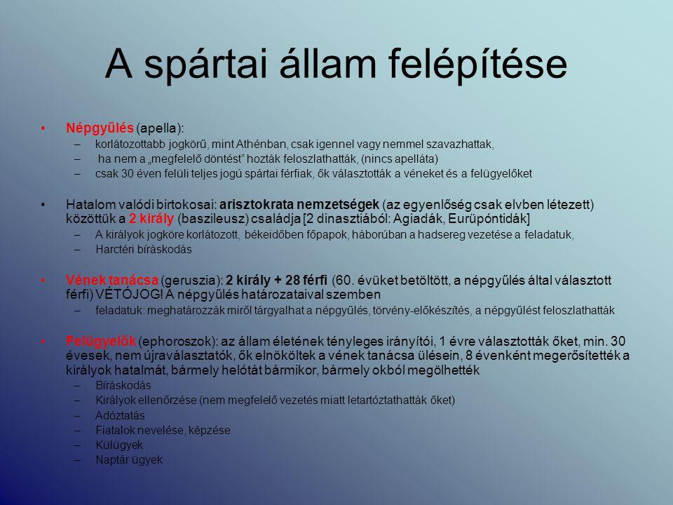 """A spártai állam felépítése Népgyűlés (apella): –korlátozottabb jogkörű, mint Athénban, csak igennel vagy nemmel szavazhattak, – ha nem a """"megfelelő dö"""