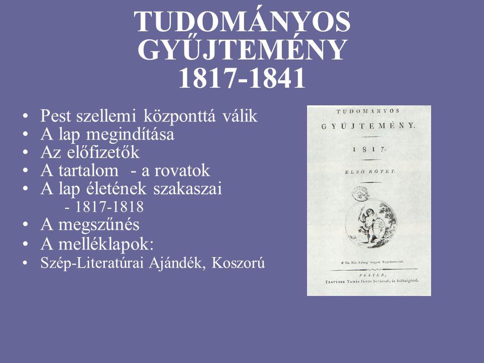 TUDOMÁNYOS GYŰJTEMÉNY 1817-1841 Pest szellemi központtá válik A lap megindítása Az előfizetők A tartalom - a rovatok A lap életének szakaszai - 1817-1