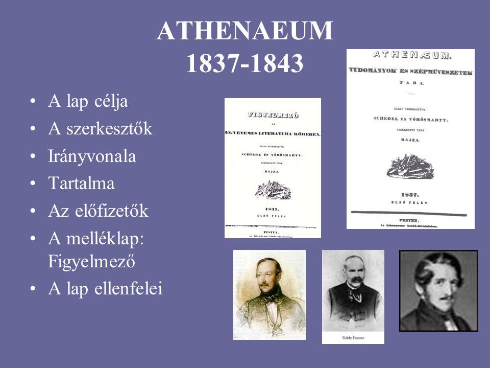 ATHENAEUM 1837-1843 A lap célja A szerkesztők Irányvonala Tartalma Az előfizetők A melléklap: Figyelmező A lap ellenfelei