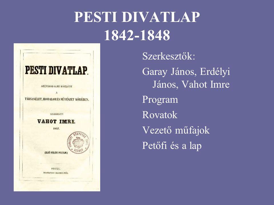 PESTI DIVATLAP 1842-1848 Szerkesztők: Garay János, Erdélyi János, Vahot Imre Program Rovatok Vezető műfajok Petőfi és a lap