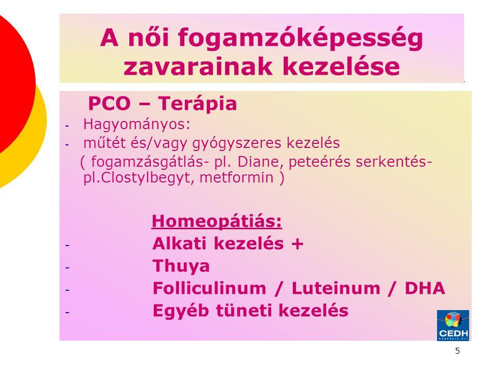 5 A női fogamzóképesség zavarainak kezelése PCO – Terápia - Hagyományos: - műtét és/vagy gyógyszeres kezelés ( fogamzásgátlás- pl.