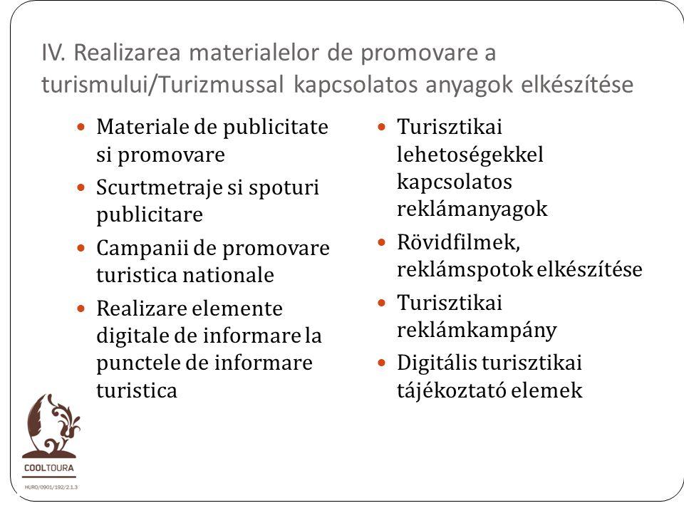 IV. Realizarea materialelor de promovare a turismului/Turizmussal kapcsolatos anyagok elkészítése Materiale de publicitate si promovare Scurtmetraje s