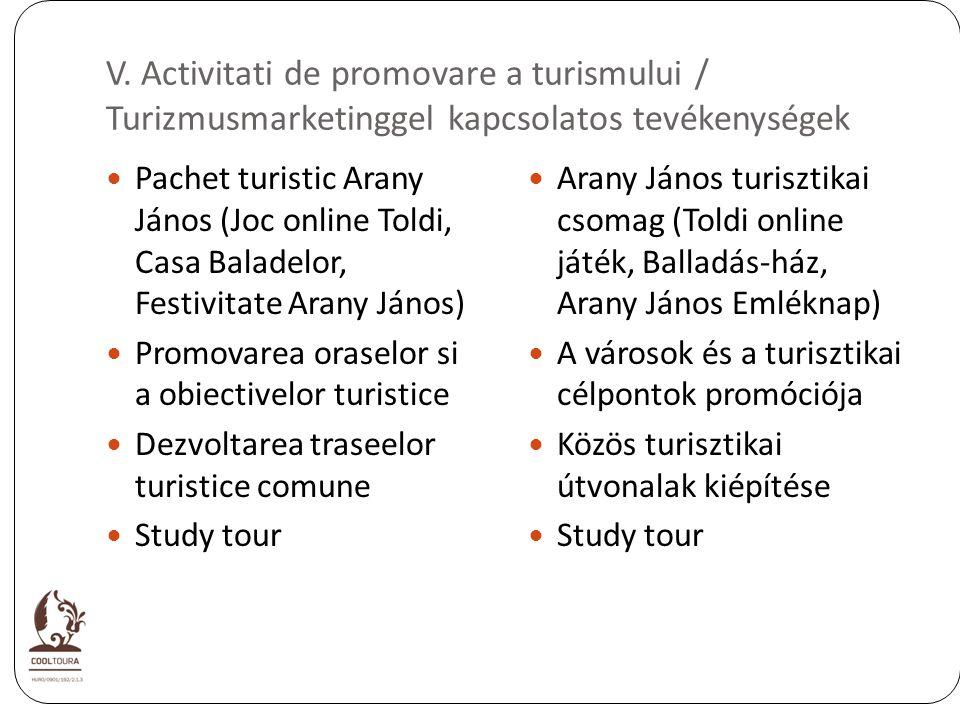 V. Activitati de promovare a turismului / Turizmusmarketinggel kapcsolatos tevékenységek Pachet turistic Arany János (Joc online Toldi, Casa Baladelor