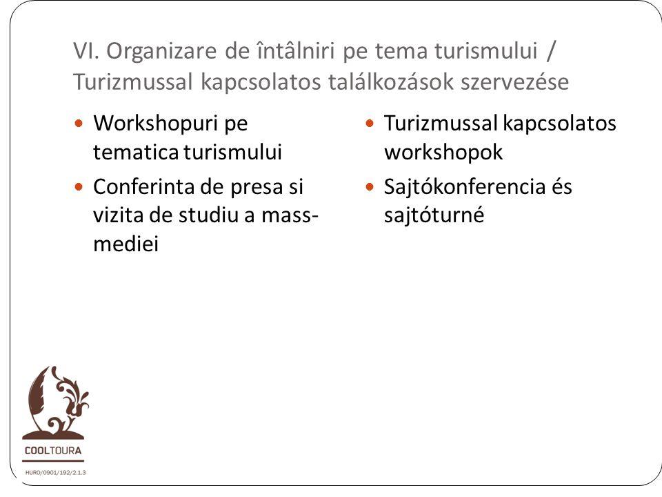 VI. Organizare de întâlniri pe tema turismului / Turizmussal kapcsolatos találkozások szervezése Workshopuri pe tematica turismului Conferinta de pres